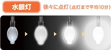 水銀灯 徐々に点灯(点灯まで平均10分)