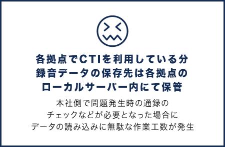 各拠点でCTIを利用している分 録音データの保存先は各拠点の ローカルサーバー内にて保管